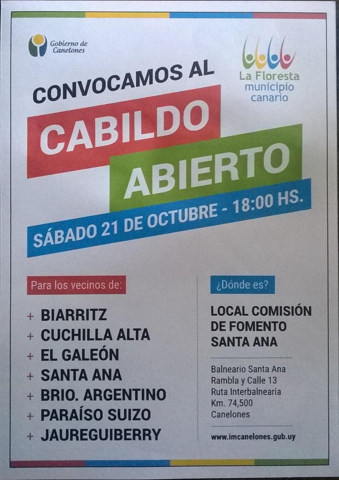 Cabildo Abierto Santa Ana, 21 de Octubre del 2017, a las 18 horas, en Local de Comisión Fomento Santa Ana.