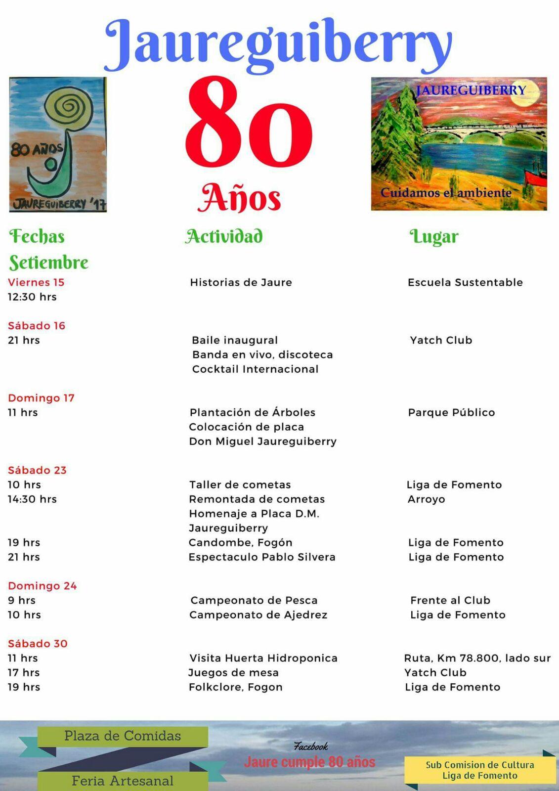 Afiche del evento, con cronograma de espectaculos y servicios